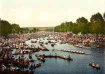 Spectators on the waters at the Henley Royal Regatta (somewhere between1890-1900)