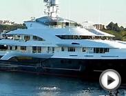Helicopter landing on Super Yacht Attessa IV in Marina Del